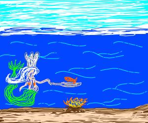 a mermaid chef making sea food underwater