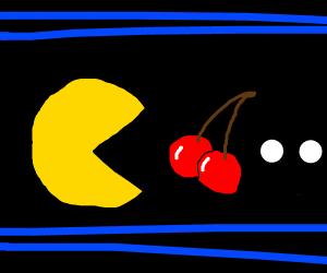 Pacman eats a cherry