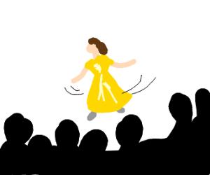 Disney's Belle dances in front of crowd