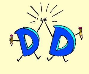 Drawception and Drawception high-fiving