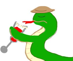 Fancy human snake drinking a bloody mary