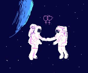 Space Lesbian Wedding