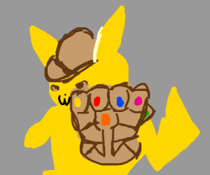 Detective Pikachu with the Infinity Gauntlet