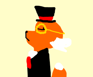 well drawn fox with a suit, hat, and monocle