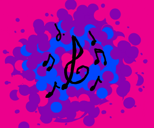 Piano on psychedelic background