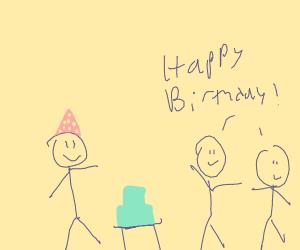 Stick figure birthday party