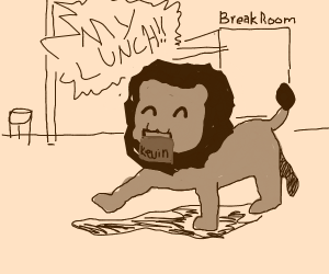 Majestic Lion Steals Lunch from Break Room