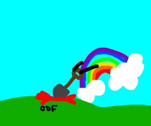 A rainbow with a shovel, beats red stickfigur