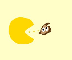Pac man eating poop