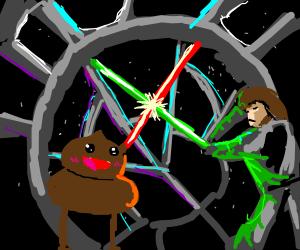 Luke sky-walker fighting a poo