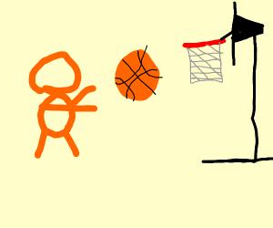 An orange entity playing basketball
