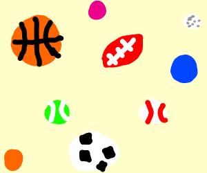 BasketBall, Football, Tennis Ball and Basebal