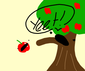 tree yeeting apples