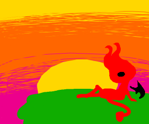 The devil watches the sunrise