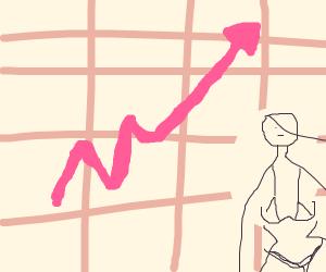 Girl draws stocks graphics