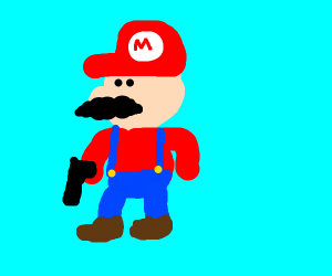 mario has gun oh no
