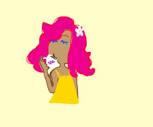 pink haired lady sips tea