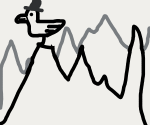 Duck with tophat on top of mountain