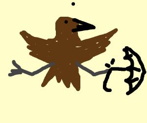 bird's umbrella is broken
