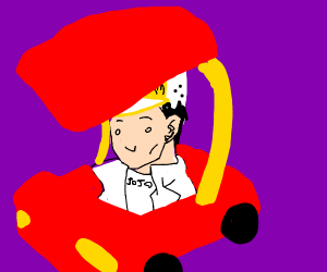 Jotaro Kujo in a toddler car