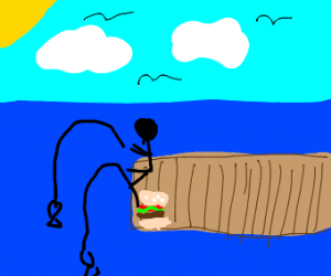 A stickman and a burger fishing