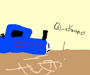A Train sinking into Quicksand