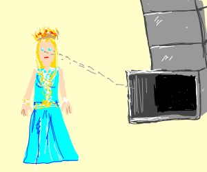 Blond princess looks in a vent