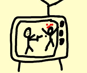 fighting on a retro tv