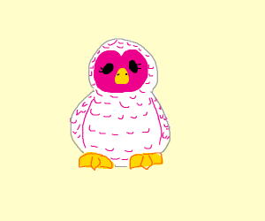 White and pink owl furry