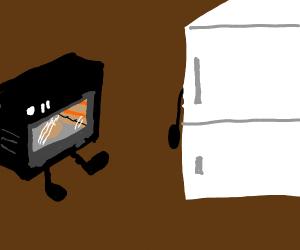 A oven approaching a fridge