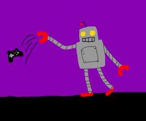 Robot throws gaming controller
