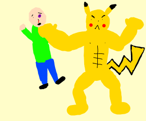 super buff pikachu beating the sh.t out o guy