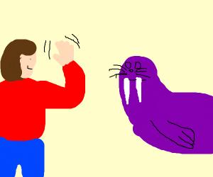 Person waving at a walrus