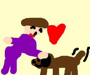 woman petting a dog she loves