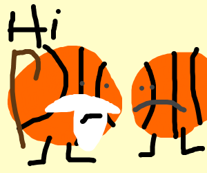 Old basketball talking to a normal basketball