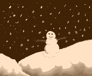 Snowman sitting on snowy hill