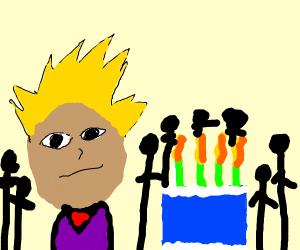 Anime man celebrates his birthday