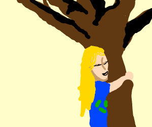 person hugging a tree