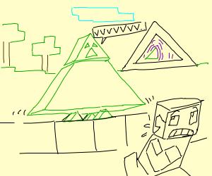 Triangle bodied Minecraft creeper