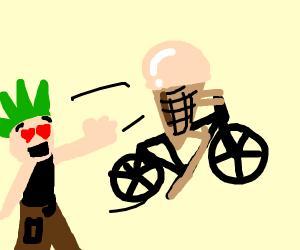 hooligan screams he loves icecream on bike