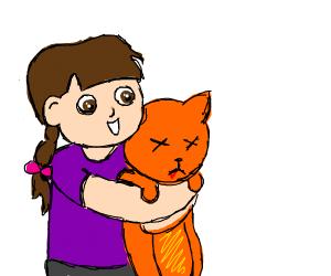 Child hugs dead cat