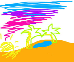 sunset lights up an oasis in the desert