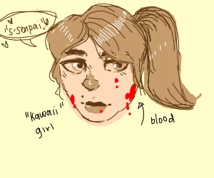 Kawii girl covered in red jam (blood)