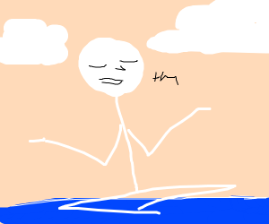 naked man meditates on the water