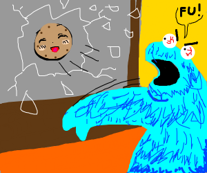 cookie monster smashes window with cookie
