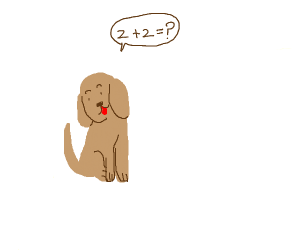 dog asks what 2+2 equals to