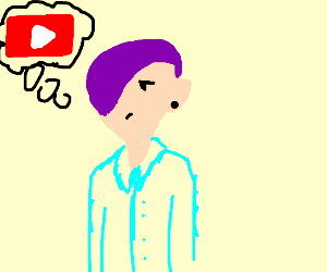 purple haired man thinkin bout youtube