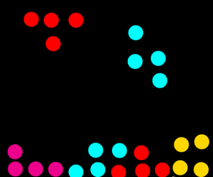tetris with dots forming the tetriminos