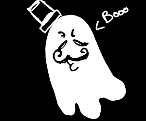 A very fancy ghost says Boo.