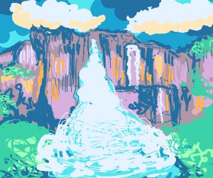 Waterfall full of whipped cream